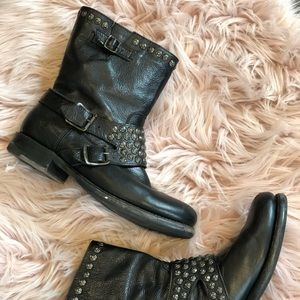 Frye Studded Moto Boots